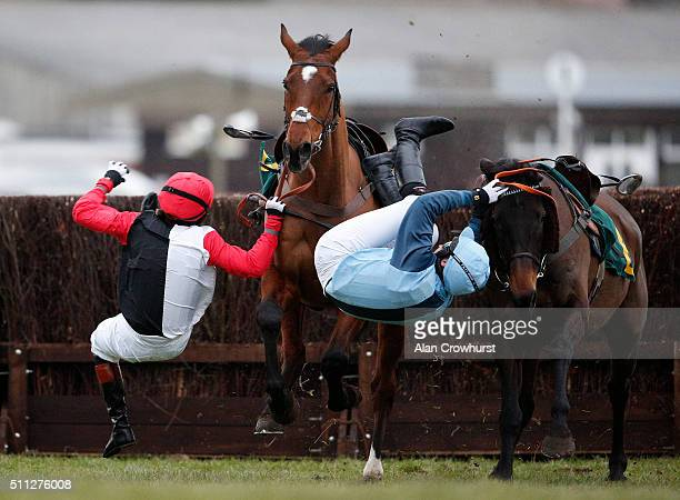 Victoria Pendleton riding Pacha Du Polder is unseated during The Betfait Switching Saddles 'Grassroots' Fox Hunters' Steeple Chase along with Carey...