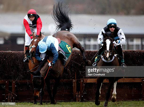 Victoria Pendleton riding Pacha Du Polder is unseated during The Betfair Switching Saddles 'Grassroots' Fox Hunters' Steeple Chase at Fakenham...
