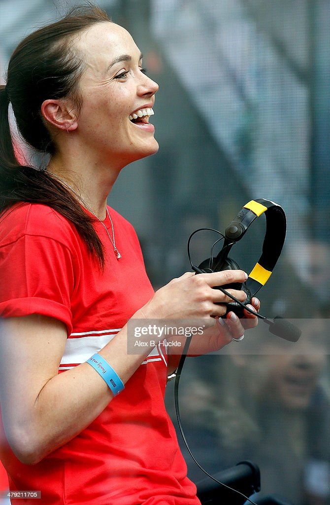 Victoria Pendleton sighted at BBC Radio 1 studios for Sport Relief 'Radio Around The World' on March 17 2014 in London England