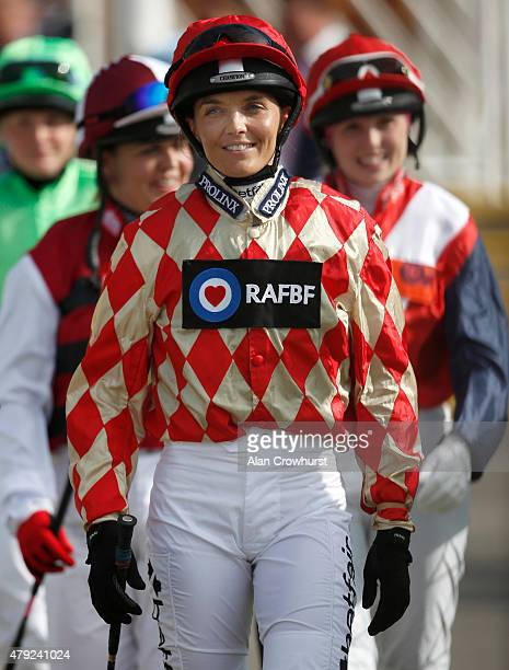 Victoria Pendleton the former Olympic cycling gold medalist makes her way to the parade ring to ride in The George Frewer Celebration Sweepstake...