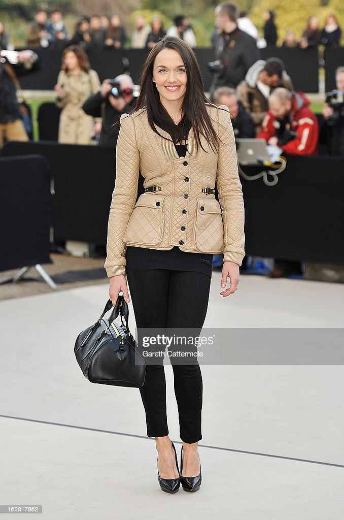 Victoria Pendleton wearing Burberry, arrives at the Burberry Prorsum Autumn Winter 2013 Womenswear Show on February 18, 2013 in London, England.