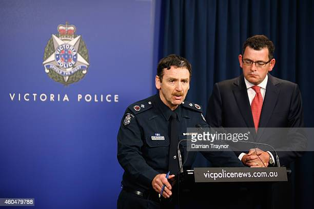 Victoria Police Deputy Commissioner Tim Cartwright with Victorian Premier Daniel Andrews speak to the media in relation to the Sydney hostage...