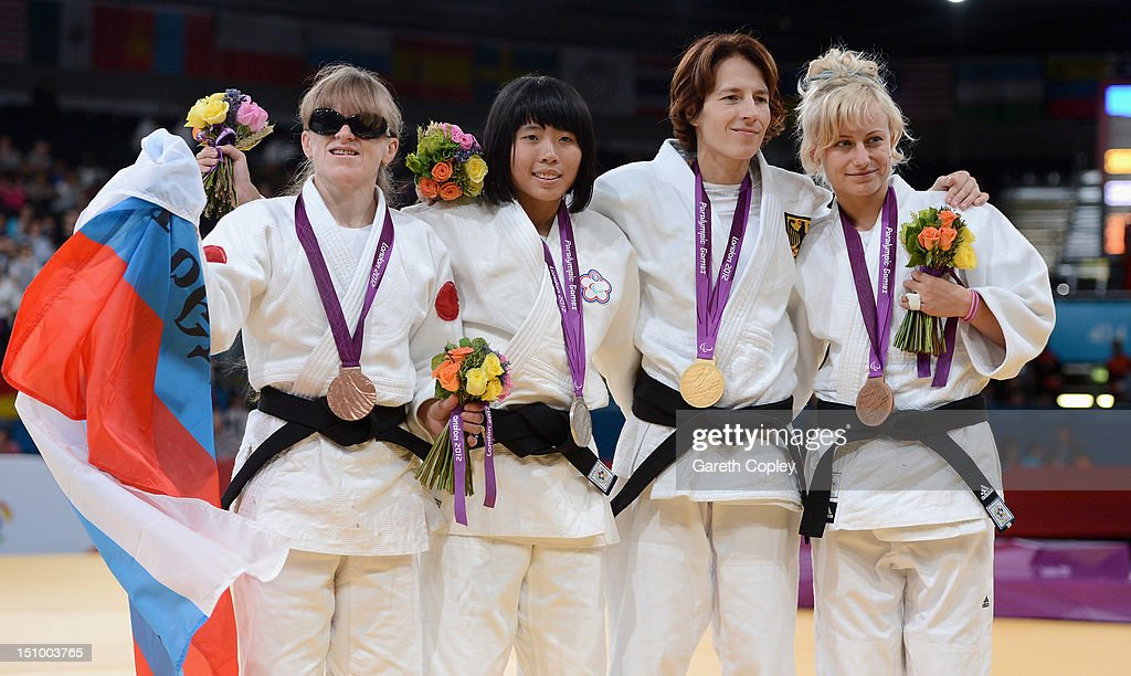 Victoria Potapova of Russia, Kai-Lin Lee of Chinese Taipei, Carmen Brussig of Germany and Yuliya Halinska of Ukraine pose with their medals for the Women's -48 kg Judo on day 1 of the London 2012 Paralympic Games at ExCel on August 30, 2012 in London, England.