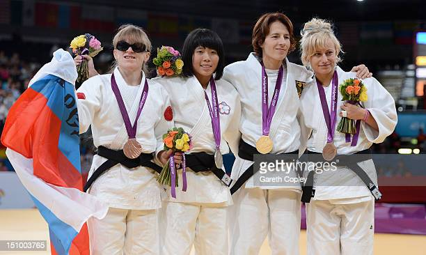 Victoria Potapova of Russia KaiLin Lee of Chinese Taipei Carmen Brussig of Germany and Yuliya Halinska of Ukraine pose with their medals for the...