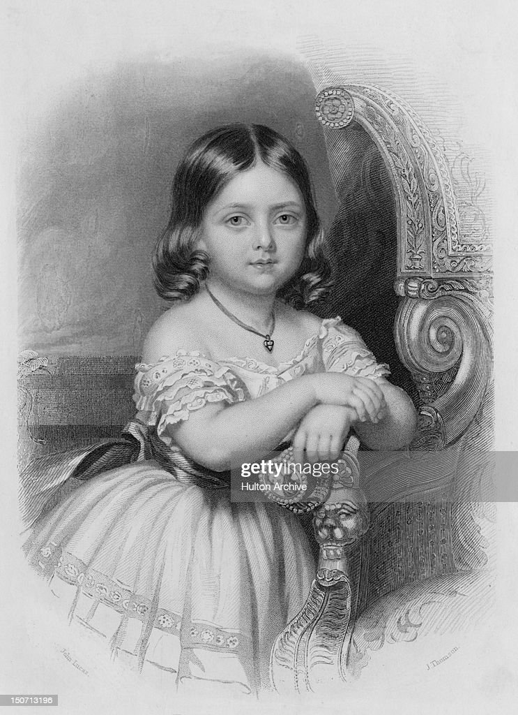 Victoria, Princess Royal (1819 - 1901), later to reign as Queen Victoria, circa 1924. She is holding a miniature of her future husband, Prince Albert, set into a bracelet. An engraving by J. Thomson after John Lucas.