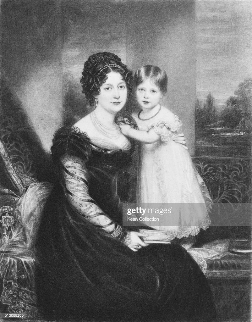 Victoria, Princess Royal (1819 - 1901), later to reign as Queen Victoria, with her mother, Victoria Maria Louise, Duchess of Kent (1786 - 1861), circa 1822.