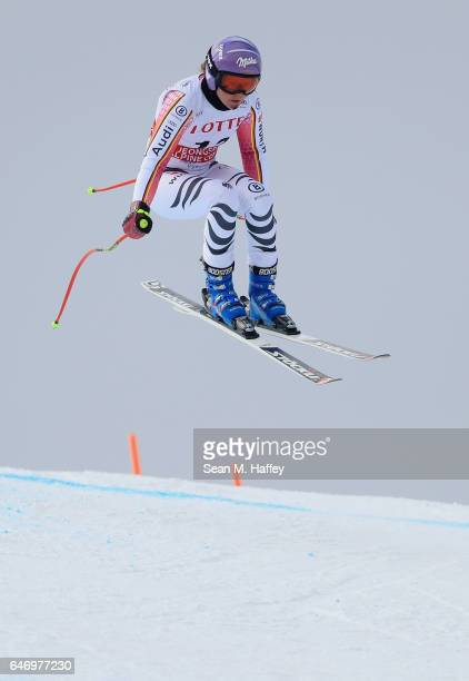 Victoria Rebensburg of Germany skis the course during the Audi FIS Ski World Cup 2017 Ladies' Downhill Training at the Jeongseon Alpine Centre on...