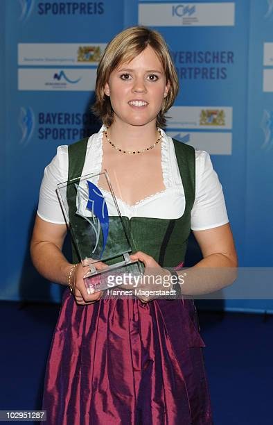 Victoria Rebensburg receives the Bavarian Sport Award 2010 at the International Congress Center Munich on July 17 2010 in Munich Germany
