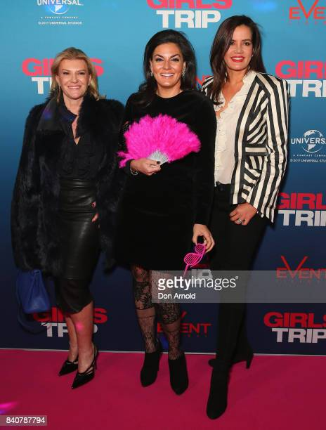 Victoria Rees Nicole O'Neil and Krissy Marsh arrive ahead of a VIP screening of GIRLS TRIP at Event Cinemas George Street on August 30 2017 in Sydney...