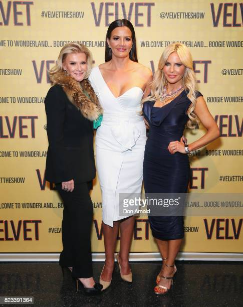 Victoria ReesKrissy Marsh and Melissa Tkautz arrive ahead of the VELVET opening night at Roslyn Packer Theatre on July 27 2017 in Sydney Australia