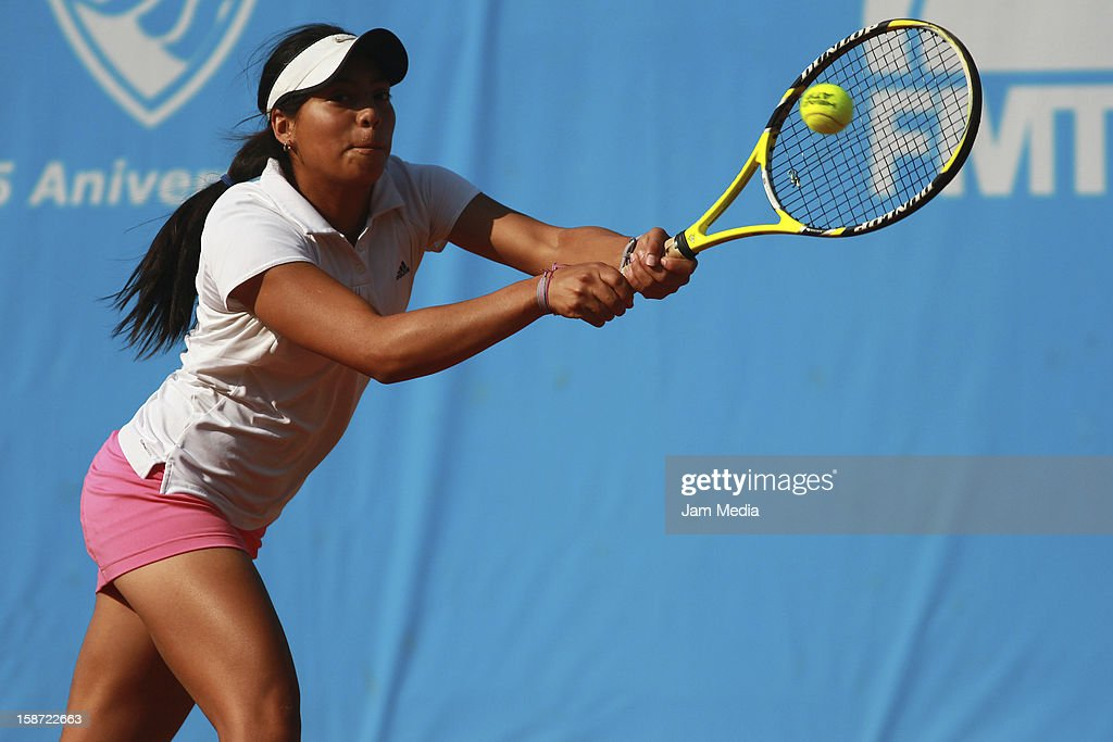 Victoria Rodriguez of Mexico hits the ball during the Mexican Youth Tennis Open at Deportivo Chapultepec on December 24, 2012 in Mexico City, Mexico.
