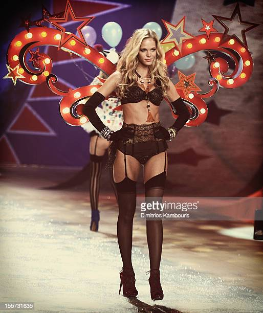 Victoria Secret Angel Erin Heatherton walks the runway during the 2012 Victoria's Secret Fashion Show at the Lexington Avenue Armory on November 7...
