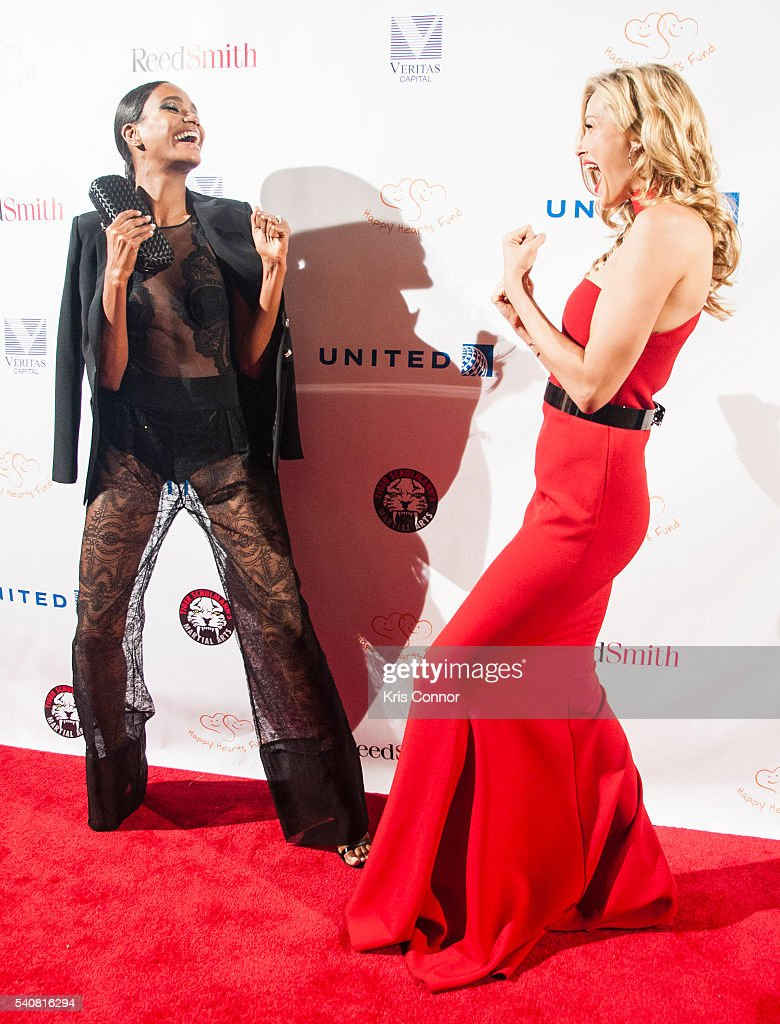 Victoria Secret Model Arlenis Sosa and Petra Nemcova pose for photo during the 2016 Happy Hearts Fund Gala at Hammerstein Ballroom on June 16 2015 in...