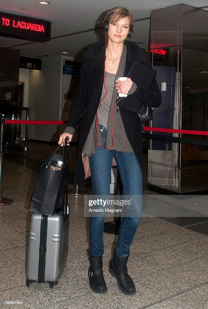Victoria Secret model Karlie Kloss arrives at Laguardia airport on February 07, 2013 in New York City.