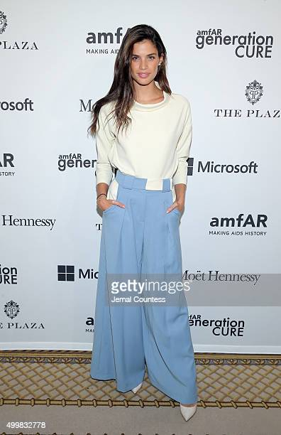 Victoria Secret model Sara Sampaio attends 2015 amfAR generationCURE Holiday Party at Oak Room on December 3 2015 in New York City