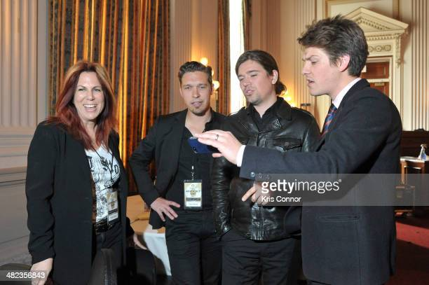 Victoria Shaw Zac Hanson Taylor Hanson and Isaac Hanson perform during an issue briefing to kick off the Grammy's on the hill lobbying day at Cannon...