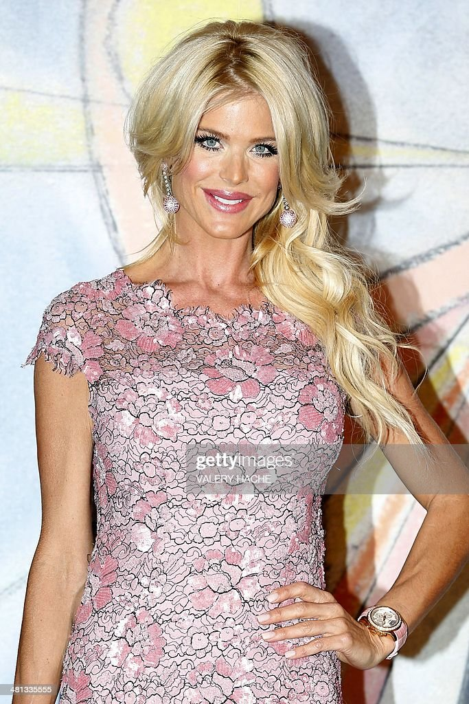 Victoria Silvstedt arrives for the annual Rose Ball at the Monte-Carlo Sporting Club in Monaco, on March 29, 2014. The Rose Ball is one of the major charity events in Monaco. Created in 1954, it benefits the Princess Grace Foundation.