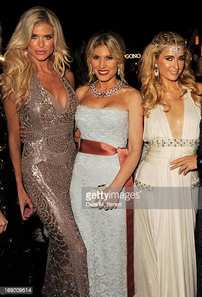 Victoria Silvstedt Hofit Golan and Paris Hilton attend a cocktail reception at the de Grisogono Party during the 66th International Cannes Film...