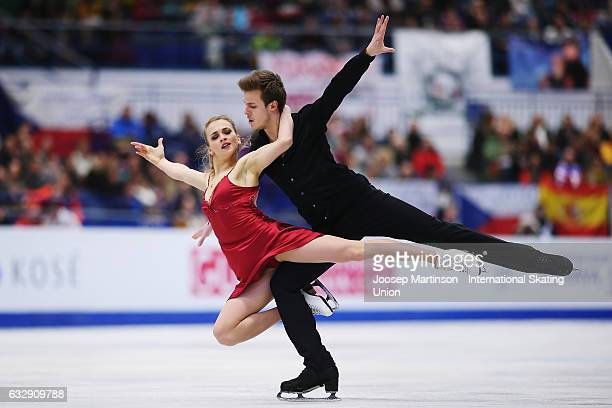 Victoria Sinitsina and Nikita Katsalapov of Russia compete in the Ice Dance Free Dance during day 4 of the European Figure Skating Championships at...