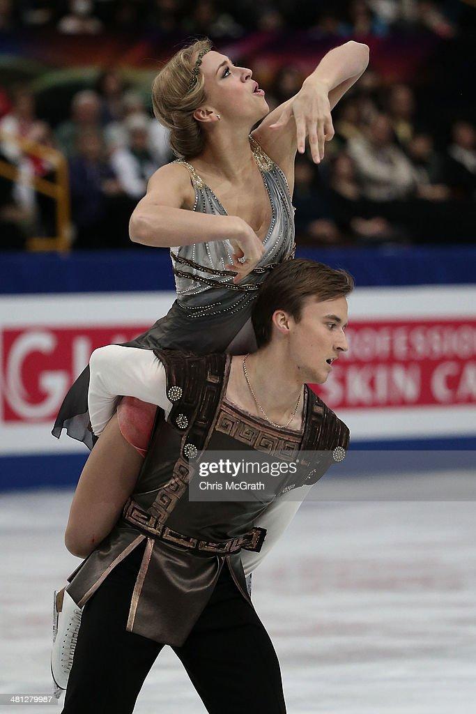 Victoria Sinitsina and Ruslan Zhiganshin of Russia compete in the Ice Dance Free Dance during ISU World Figure Skating Championships at Saitama Super Arena on March 29, 2014 in Saitama, Japan.