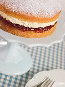 Victoria Sponge on a Cake Stand