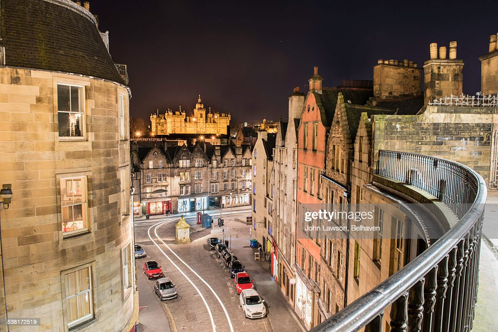 Victoria Street and Grassmarket, Edinburgh, night : Foto de stock