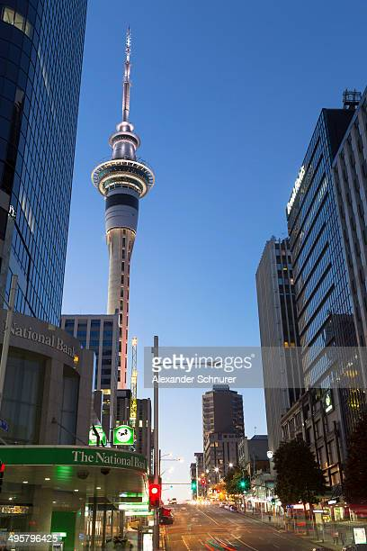 Victoria Street West, Skytower and skyscrapers at night, Auckland, Auckland Region, New Zealand