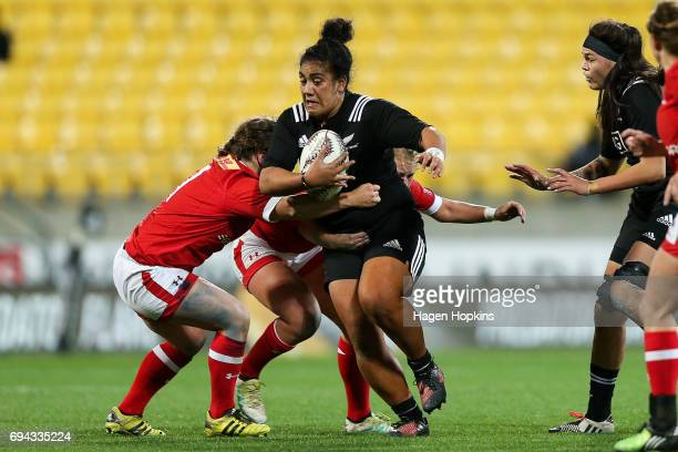 Victoria SubritskyNafatali of New Zealand is tackled during the Women's International Test match between the New Zealand Black Ferns and Canada at...