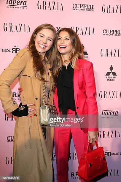 Victoria Swarovski and Cathy Hummerls attend the GRAZIA Pop Up Breakfast during the MercedesBenz Fashion Week Berlin A/W 2017 at on January 18 2017...