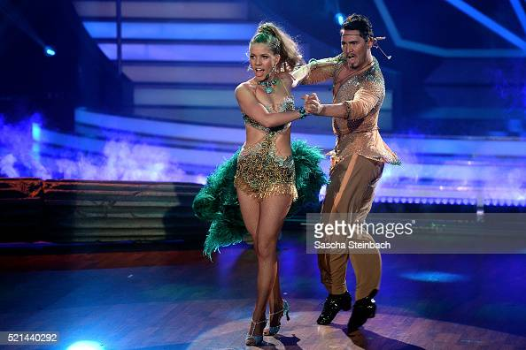 Victoria Swarovski and Erich Klann perform on stage during the 5th show of the television competition 'Let's Dance' at Coloneum on April 15 2016 in...