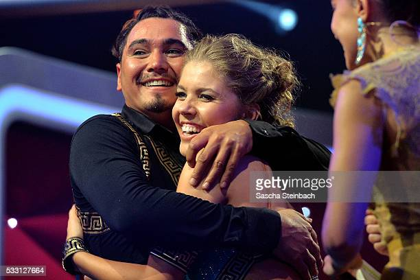 Victoria Swarovski and Erich Klann react during the 10th show of the television competition 'Let's Dance' at Coloneum on May 20 2016 in Cologne...