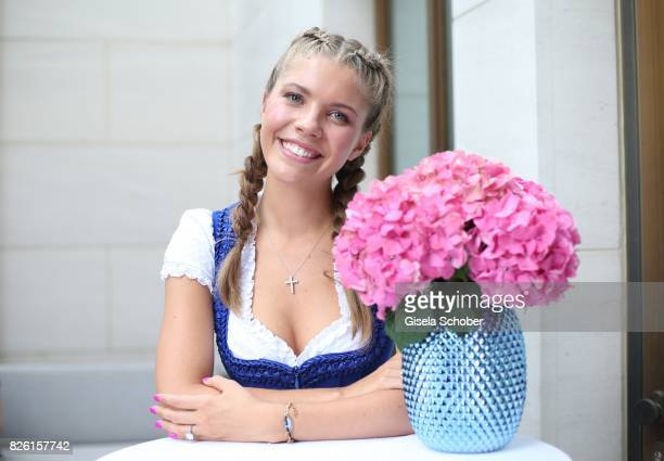 Victoria Swarovski during the presentation of Victoria Swarovski's dirndl collection 'Candy Collection' by Krueger at 'The Charles' Hotel on August 3...