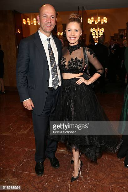 Victoria Swarovski wearing a black dress by Katia Convents and her father Paul Swarovski during the opening of the easter festival 2016 'Otello'...