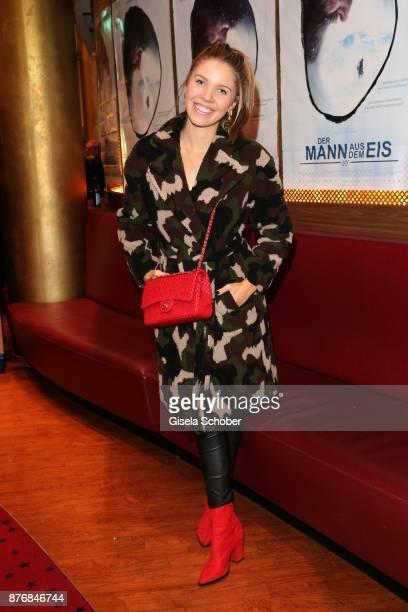 Victoria Swarovski wearing a camouflage coat during the premiere of 'Der Mann aus dem Eis' at Cinemaxx on November 20 2017 in Munich Germany