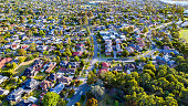 Aerial view of Melbourne's beutifully green eastern suburbs.