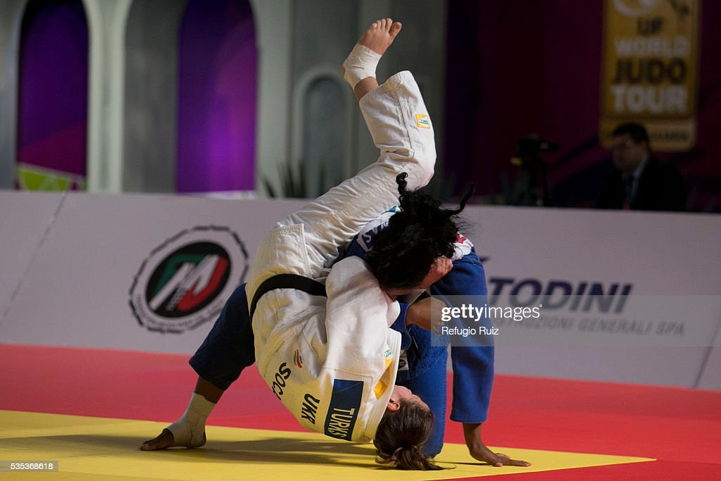 Victoria Turks (white) of Ukraine fights with Liliana Cardenas (blue) of Mexico during the women's -78kg fight as part of the World Judo Masters Guadalajara 2016 at Adolfo Lopez Mateos Sports Centre on May 28, 2016 in Gudalajara, Mexico.