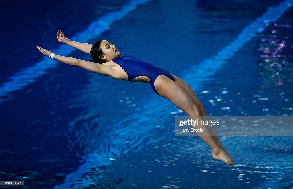 Victoria Vincent competes in the Women's 1m Final on day 1 of the British Gas Diving Championships on February 8, 2013 in Plymouth, England.