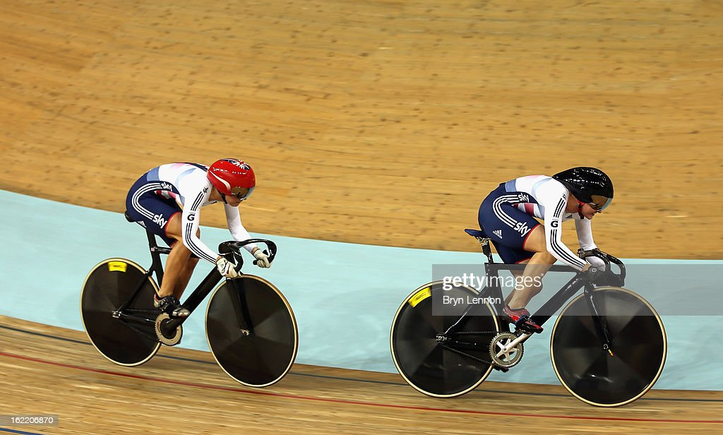 Victoria Williamson of Great Britain leads team mate Rebecca James in the Women's Team Sprint during day one of the UCI Track World Championships at the Minsk Arena on February 20, 2013 in Minsk, Belarus.