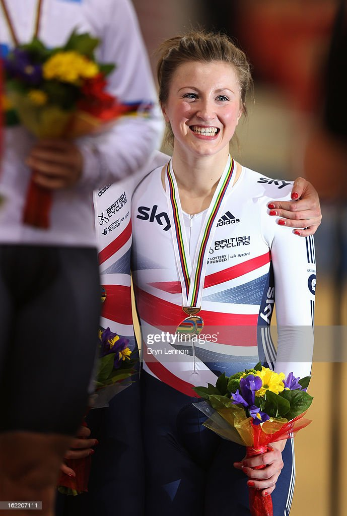 Victoria Williamson of Great Britain stands on the podium after finishing 3rd (with Rebecca James) in the Women's Team Sprint during day one of the UCI Track World Championships at the Minsk Arena on February 20, 2013 in Minsk, Belarus.