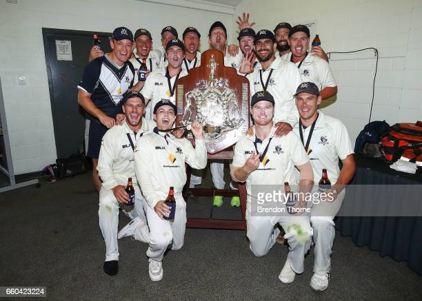 Victorian Bushrangers celebrate claiming the Sheffield Shield following the Sheffield Shield final between Victoria and South Australia on March 30...