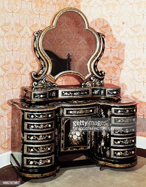 Victorian carved and painted papier mache' dressing table Temple Newsam House Leeds UK 19th century
