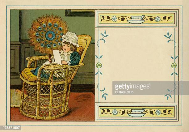 Victorian child reading in chair holding fan constructed out of peacock feathers an illustration by JB Sowerby