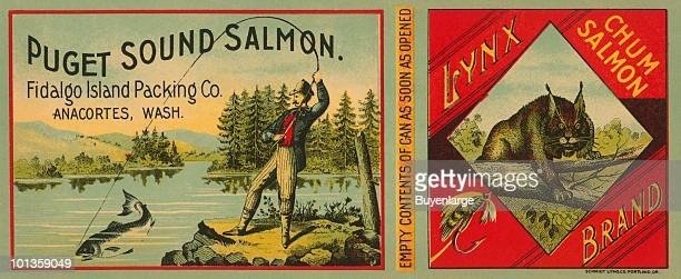A Victorian era can label for 'Lynx Brand Chum Salmon' from the Fidalgo Island Packing Company