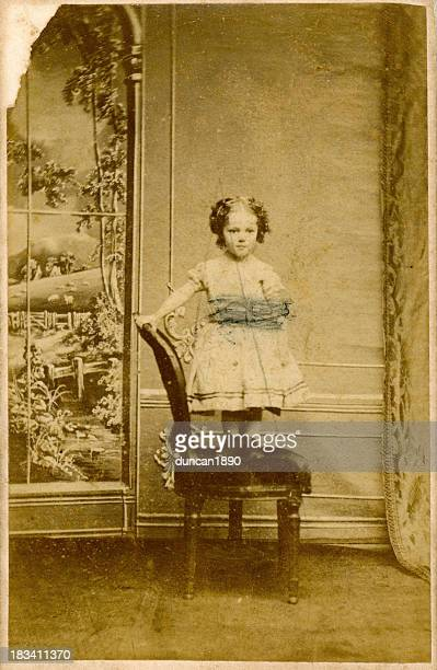 Victorian Girl Faded Old Photograph