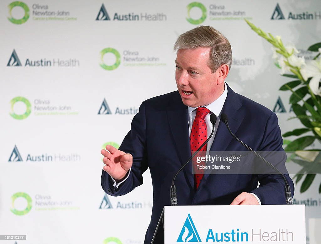 Victorian Health Minister David Davis speaks at the formal opening of the Olivia Newton John Cancer & Wellness Centre at Austin Hospital on September 20, 2013 in Melbourne, Australia.