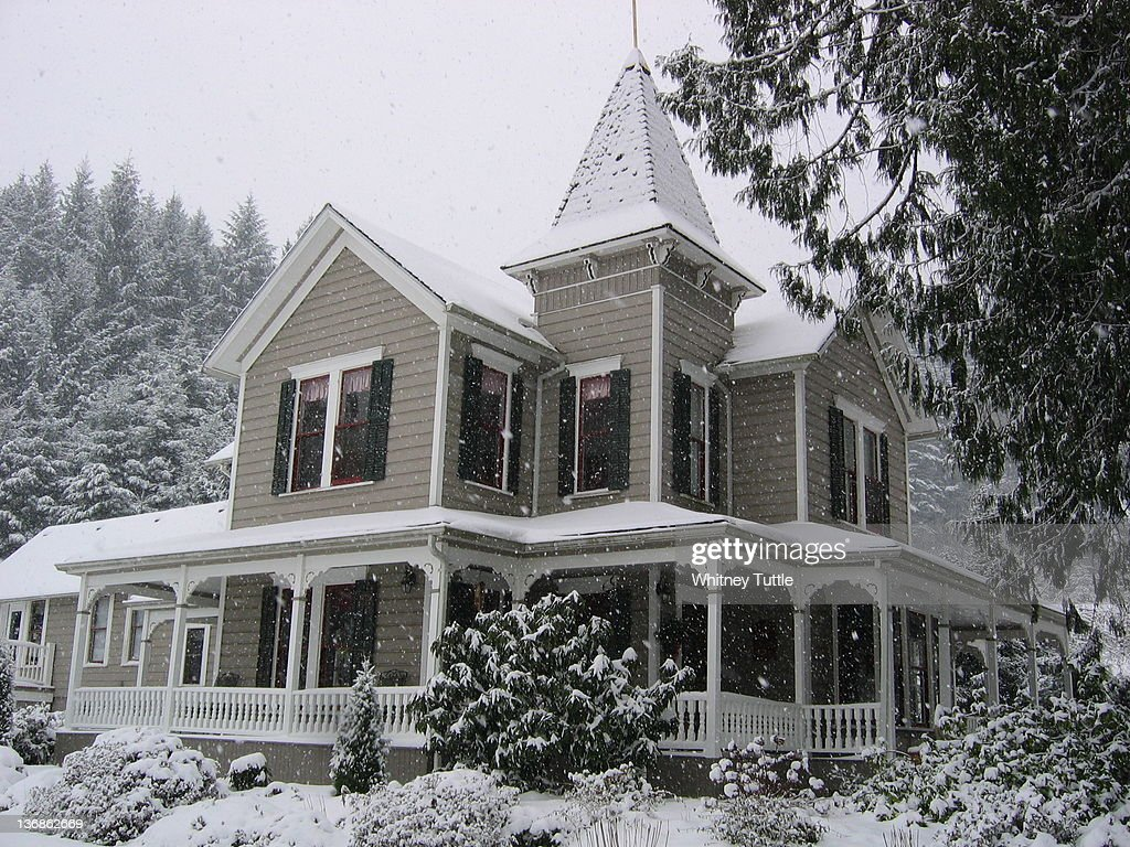 victorian house in snow stock photo getty images