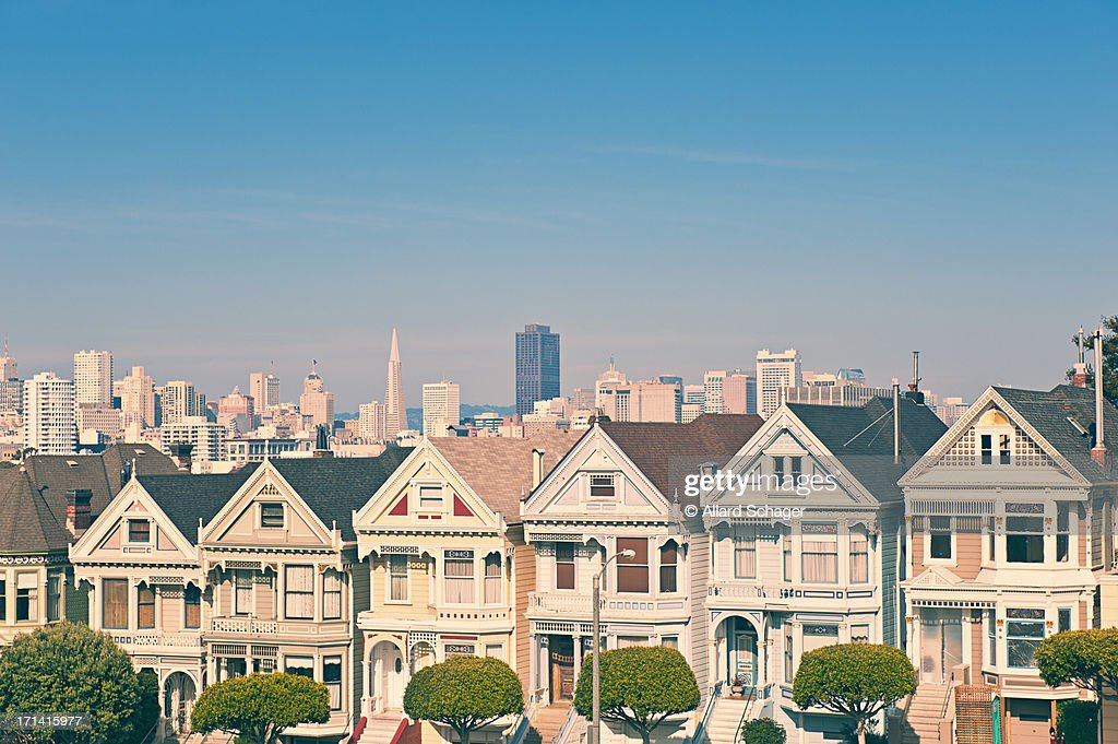 Victorian houses in san francisco stock photo getty images for Houses in san francisco
