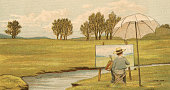 Victorian illustration of a child painting at an easel on the grounds of the family estate 1881 Chromolithograph