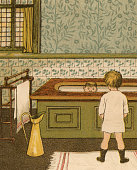 Victorian illustration of a young boy taking a bath in the bathroom of their family estate 1881 Chromolithograph