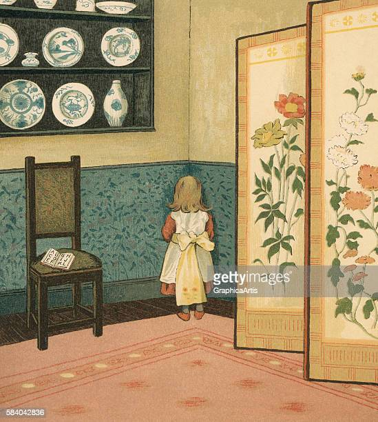 Victorian illustration of a young child standing in the 'dunce corner' in her family estate 1881 Chromolithograph
